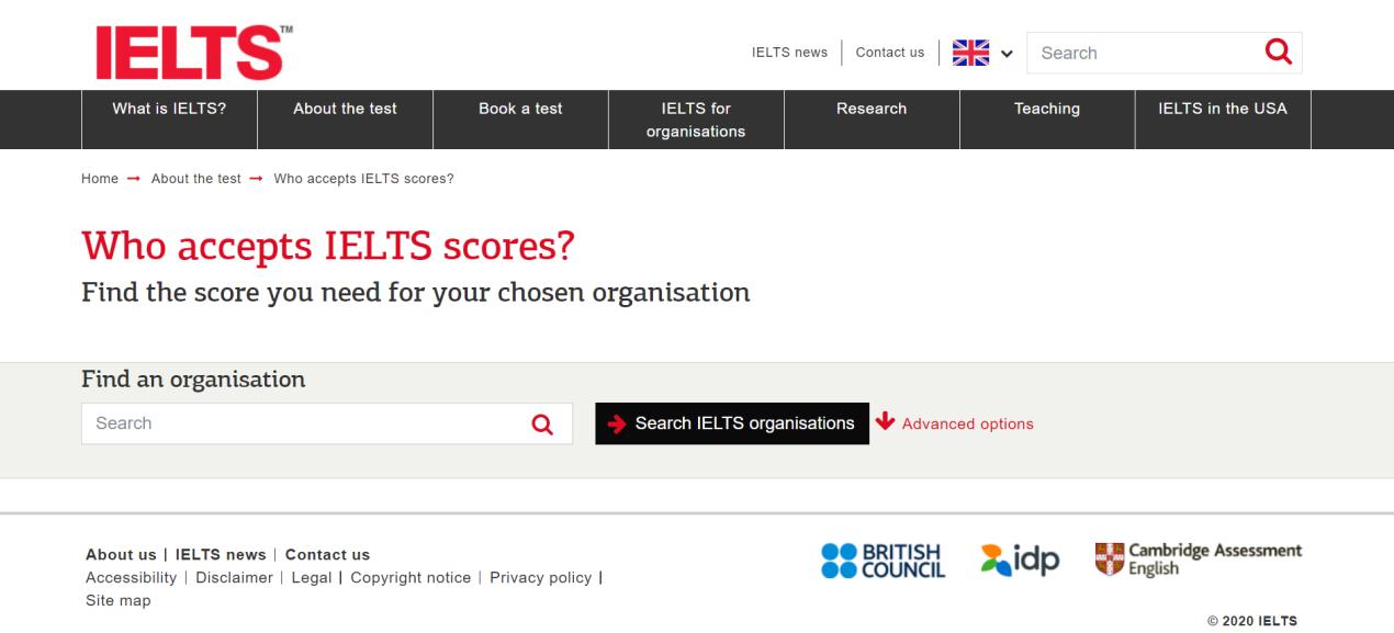 Who accepts IELTS scores